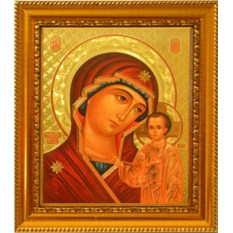 Казанская икона Божьей Матери на золотом фоне