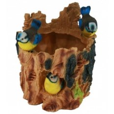 Садовая фигура-кашпо Пень с синичками