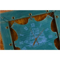 Часы из кожи Морская прогулка (синий)