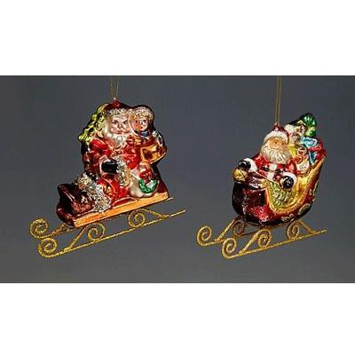 Игрушка Санта в санях с подарками