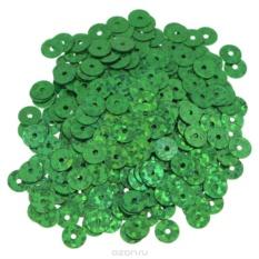 Плоские пайетки Астра, с голограммой, зеленые, 6 мм