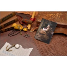 Кожаная обложка для документов Зевающий кот