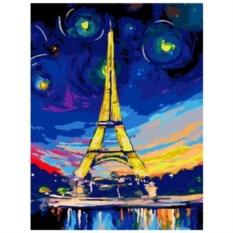 Картина-раскраска по номерам на холсте Ночь в Париже