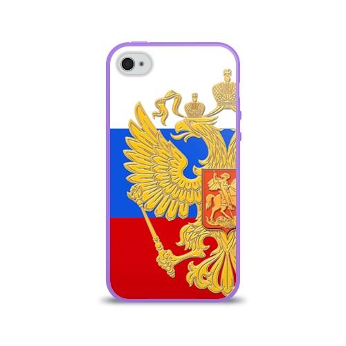 Силиконовый глянцевый чехол для Apple iPhone 4 Флаг и герб