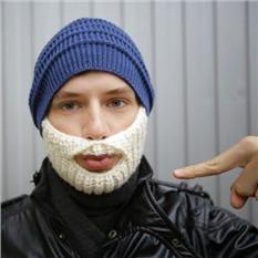 Синяя шапка с белой бородой