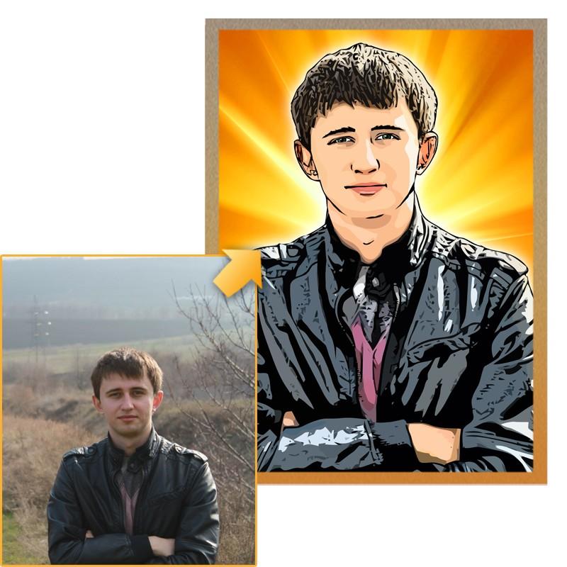 Дизайнерский портрет по фото в подарок мужчине, 40х60 см