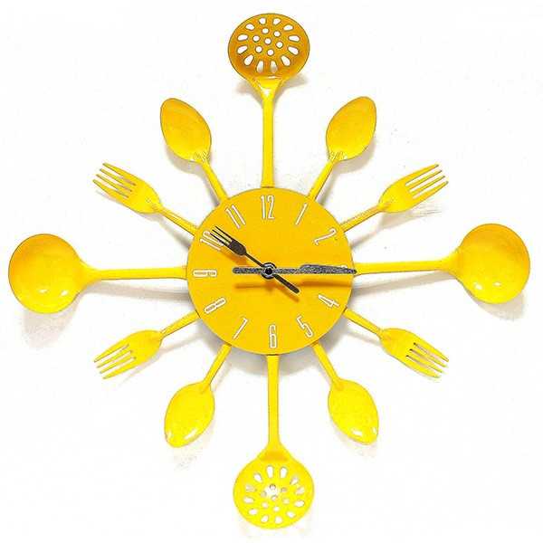 Настенные часы Набор повара, желтые