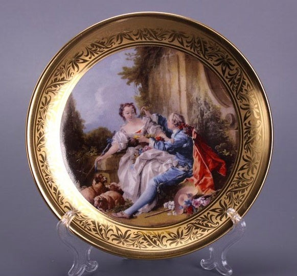 Тарелка декоративная золотая «Влюбленные»