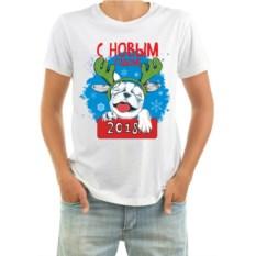 Мужская футболка Собачка с оленьими рогами