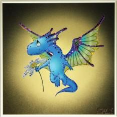 Картина с кристаллами Swarovski Цветочный дракон