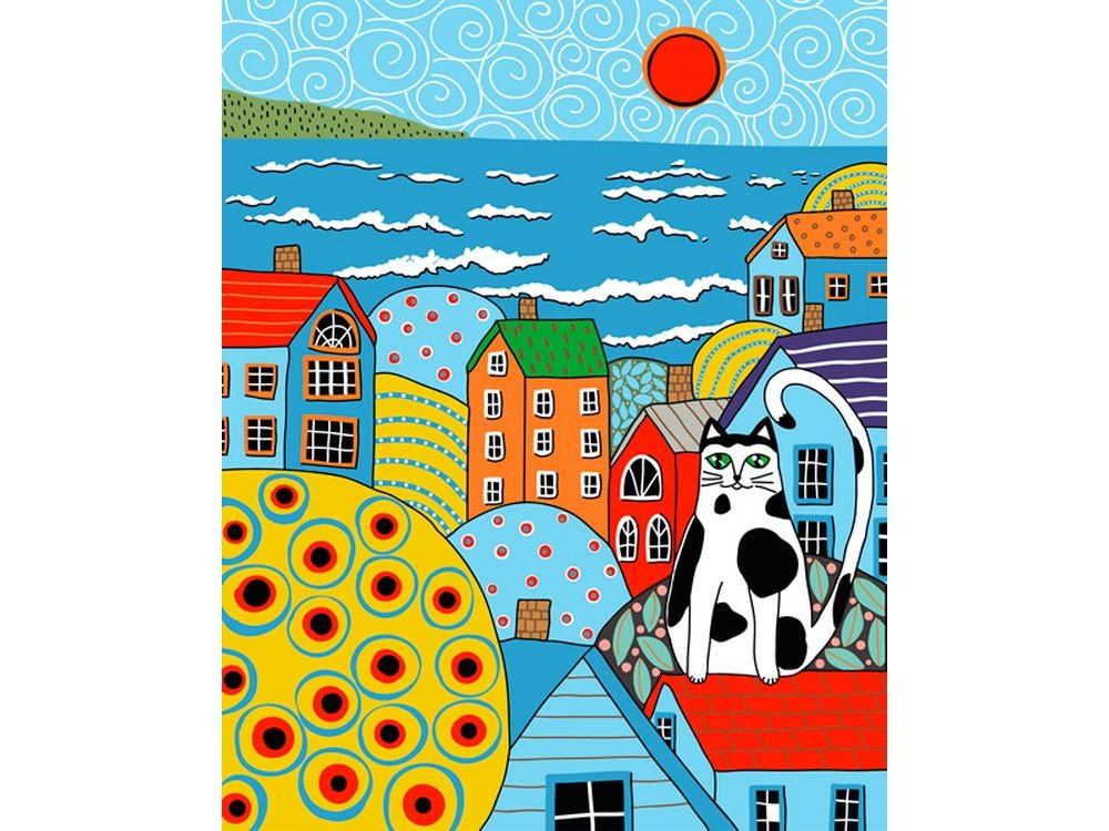 Картины по номерам «Кот и крыши»