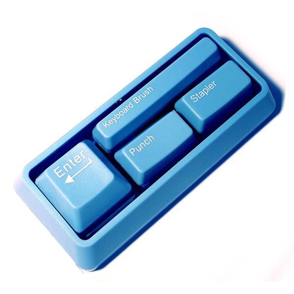 Канцелярский набор в виде клавиатуры, голубой