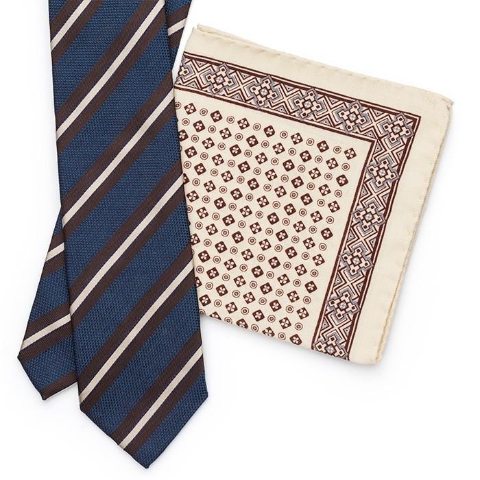 Платок Roda из шерсти, с геометрическим узором, бело-коричн.