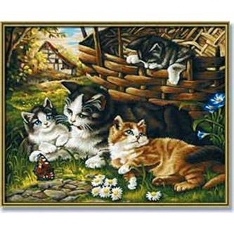 Раскраска «Кошка с котятами»