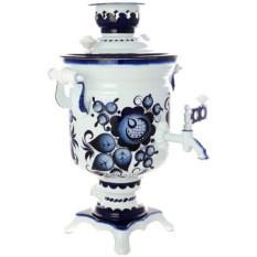 Самовар на 3 л с художественной росписью Гжельские кружева