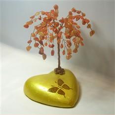 Дерево счастья из сердолика на сердечке