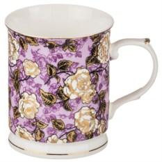 Фиолетовая кружка Розочки, объем 400 мл