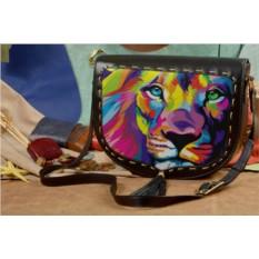 Женская кожаная сумка-седло Красочный лев
