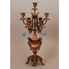 Пара канделябров из бронзы на 7 свечей, цвет каштановый