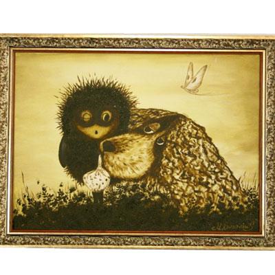 Картина «Ёжик и собака»