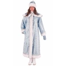 Длинный голубой костюм Снегурочки с пелериной