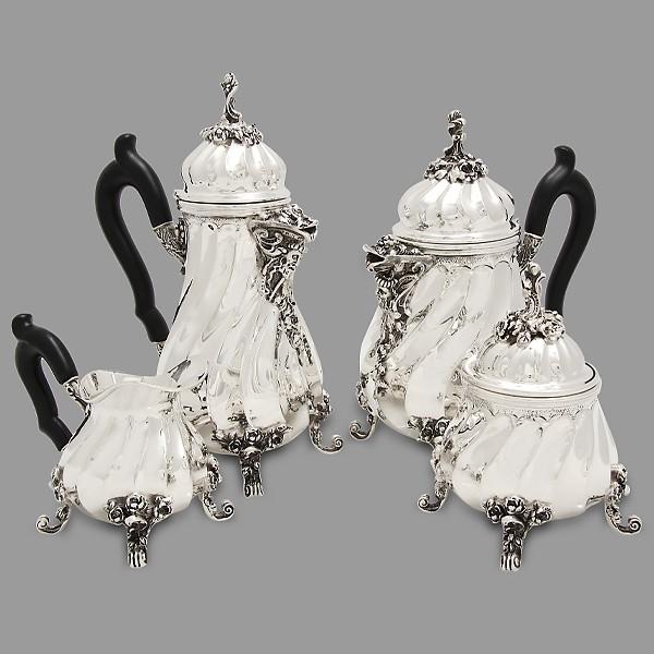 Серебряный кофейно-чайный сервиз