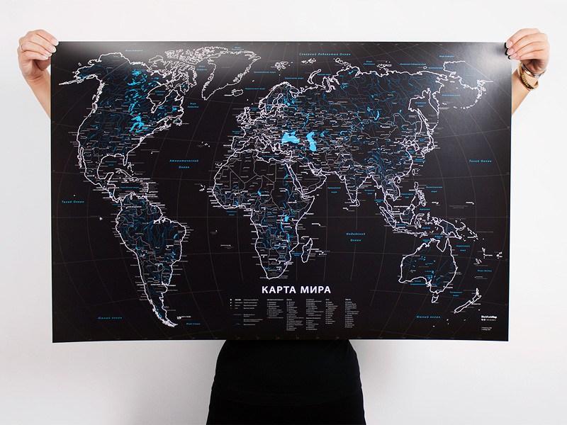Черная карта мира BlackFunkMap