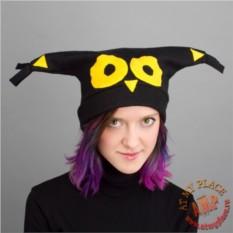 Черная шапка с ушками Сова