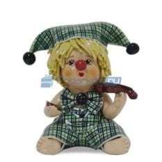 Статуэтка Клоун-мальчик со скрипкой в зеленом костюме