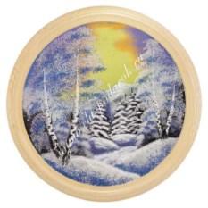 Панно на тарелке диаметром 50 см Зимний пейзаж