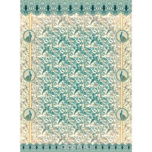 Рисовая бумага для декупажа Гобелен с павлинами, 28,2 см х 38,4 см
