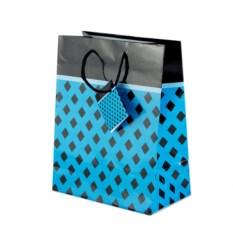 Голубой бумажный подарочный пакет