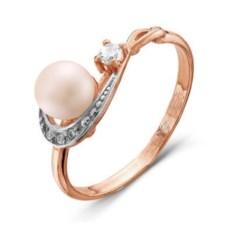 Позолоченное кольцо с жемчугом и фианитом
