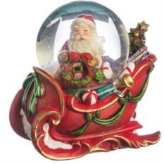 Фигурка в стеклянном шаре Дед Мороз на санях