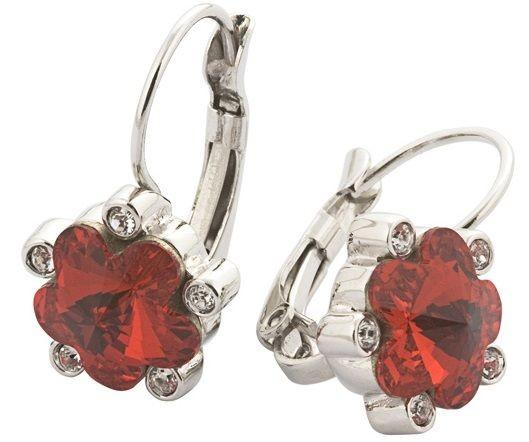 Серьги с кристаллами Swarovski Цветы красные