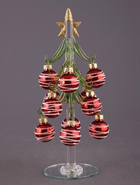 Елочка декоративная с шарами (красными) с сереб. узором