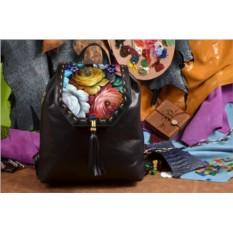 Женский черный кожаный рюкзак Цветы Хохломы