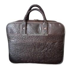 Деловая сумка-портфель из страусиной кожи (цвет: коричневый)
