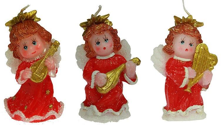 Новогодняя свеча Ангелочек, с музыкальным инструментом