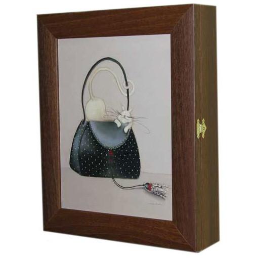 Ключница настенная «Кошка с чёрной сумкой»