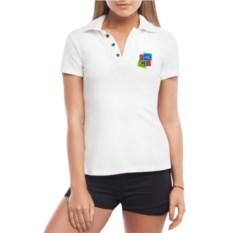 Белая именная женская футболка-поло Кубики