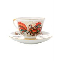 Чашка с блюдцем чайная Красный петух, фарфор