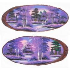 Горизонтальное панно на срезе дерева Рассвет 85-90 см