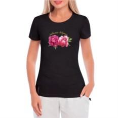 Черная женская футболка с рисунком Любимая бабушка