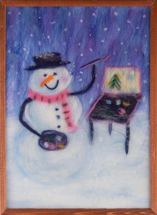Картина из шерсти Снеговик