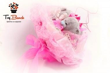 Букет из мягких игрушек (розовый, три серых мишки)