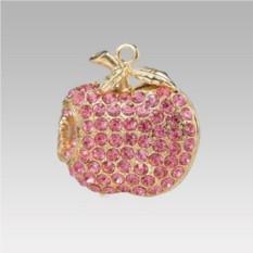 Флешка Яблоко в розовых стразах