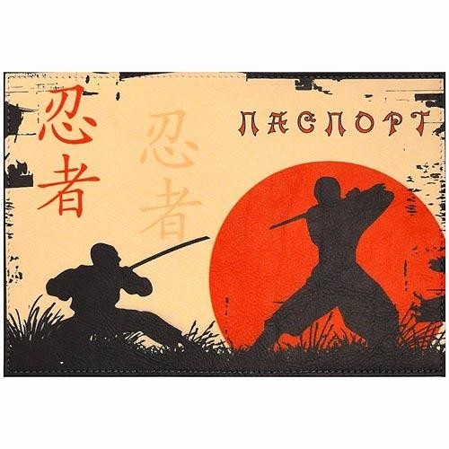 Обложка кожаная на паспорт Самурай