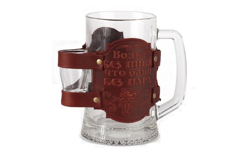 Пивной бокал в кожаном чехле «С легким паром!»