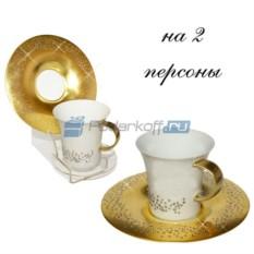 Кофейный набор на 2 персоны со Swarovski Золотая свадьба